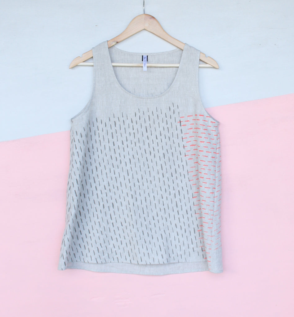 Linen Tank - NATURAL - Stripe Design