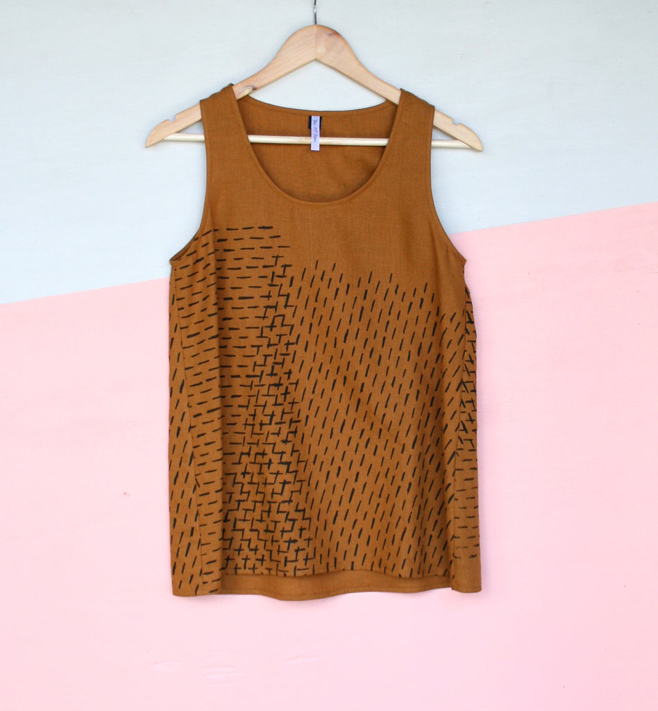 Linen Tank - TAN - Stripe Design