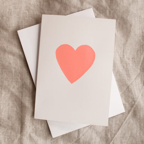 Heart Card - Neon Peach