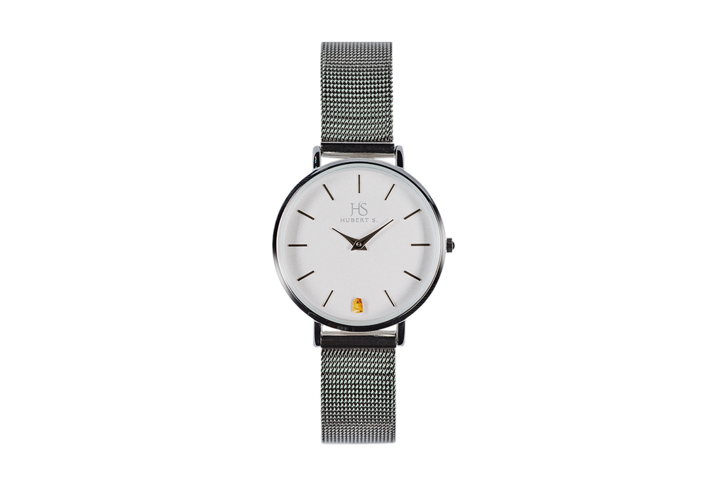 Silver mesh strap amber watch