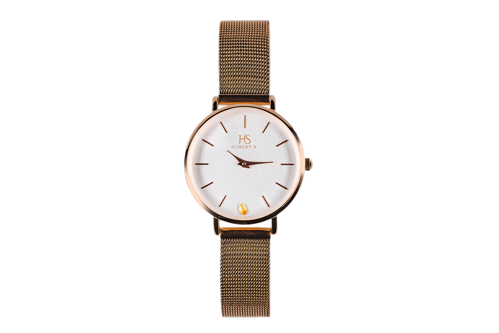MESH STRAP AMBER WATCH (GOLD)