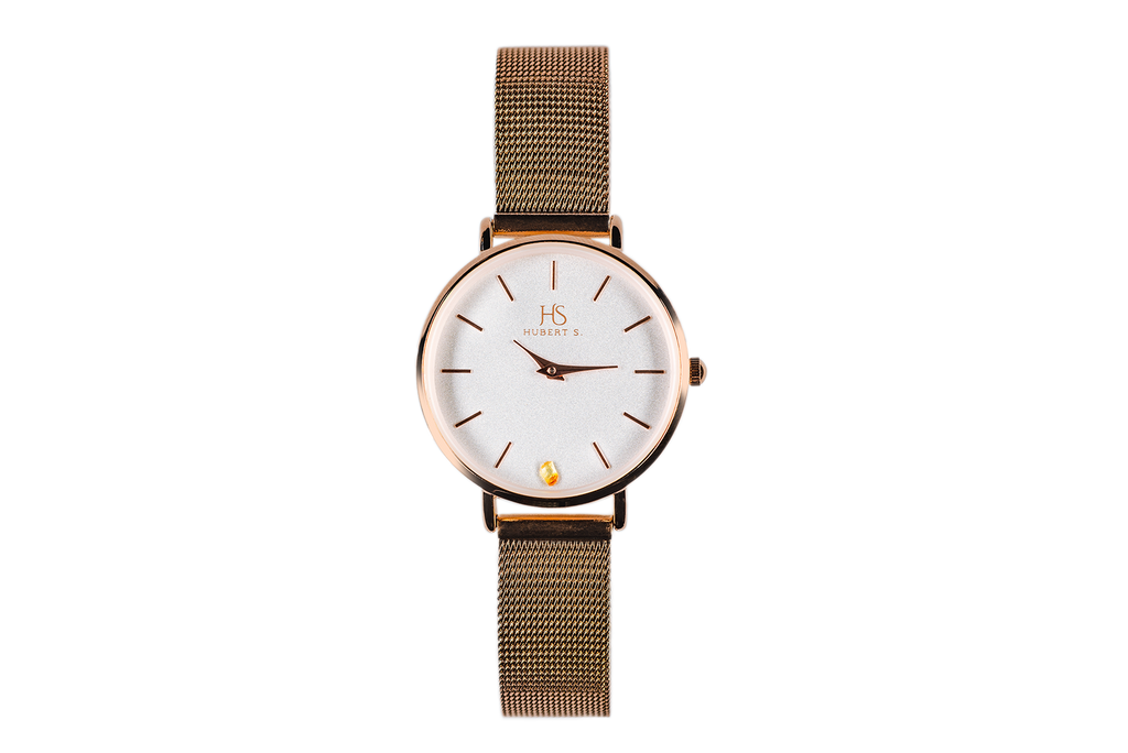 Golden Mesh Strap Amber Watch