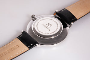 Silver unisex watch with amber stone
