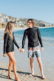 MEN'S ZIP RASH GUARD - BLACK
