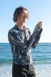 MEN'S ZIP RASH GUARD - BLUE ROCK