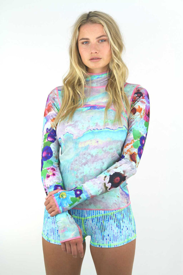 WOMEN'S PULLOVER RASH GUARD - SEA POPPIES
