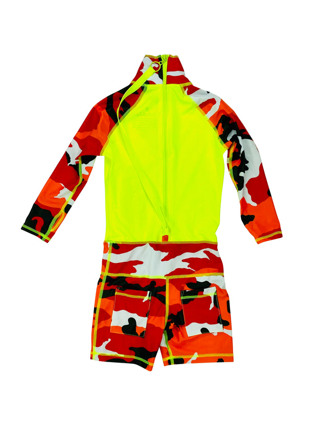 BOY'S SHORT SWIMSUIT - RED CAMO W- NEON YELLOW *BOYS NEW PRODUCT