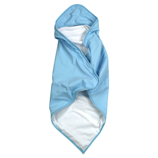 BABY BEACH TOWEL WITH HOODIE - BABY BLUE