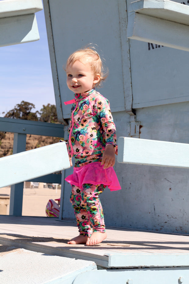 BABY ZIP RASH GUARD + LEGGINGS - BABY POPPIES