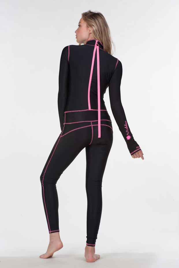 WOMEN'S LONG SUIT - BLACK CAT WITH PINK STITCH/ZIPPER  *SALE*