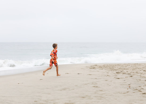 BOY'S SHORT SWIMSUIT - RED CAMO