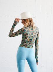 WOMEN'S PULLOVER RASH GUARD - PEACOCK