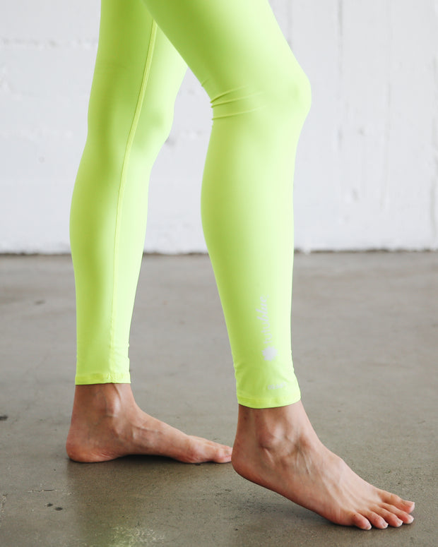 WOMEN'S HI-WAIST LEGGINGS  - NEON YELLOW