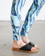 WOMEN'S HI-WAIST LEGGINGS  - BLUE ABALONE