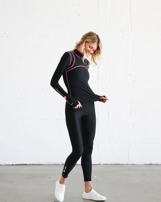 WOMEN'S PULLOVER RASH GUARD - BLACK CAT