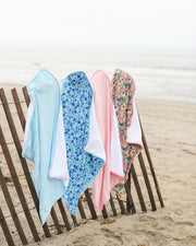 BABY BEACH TOWEL WITH HOODIE - BABY BLUE URCHIN