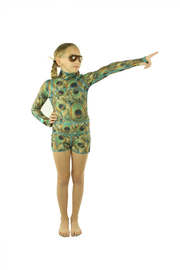 GIRL'S SHORT SWIMSUIT - PEACOCK