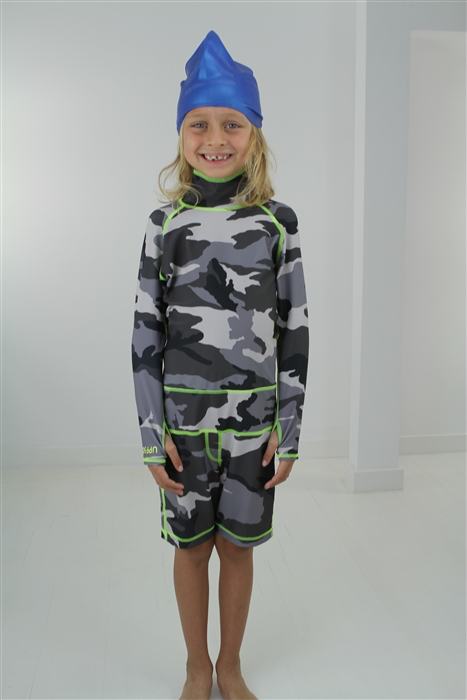 BOY'S SHORT SWIMSUIT - GREY CAMO *BOYS RESTOCK