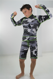 BOY'S SHORT SWIMSUIT - GREY CAMO