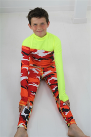 BOY'S LONG SWIMSUIT DAB - RED CAMO WITH YELLOW CONTRAST