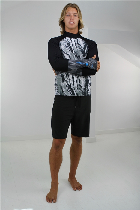 MEN'S PULLOVER RASH GUARD - GRAY ABALONE