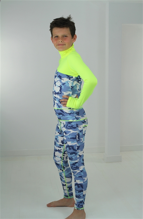 BOY'S LONG SWIMSUIT DAB - BLUE CAMO WITH YELLOW CONTRAST