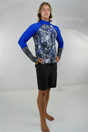 MEN'S PULLOVER RASH GUARD - BLUE ROCK
