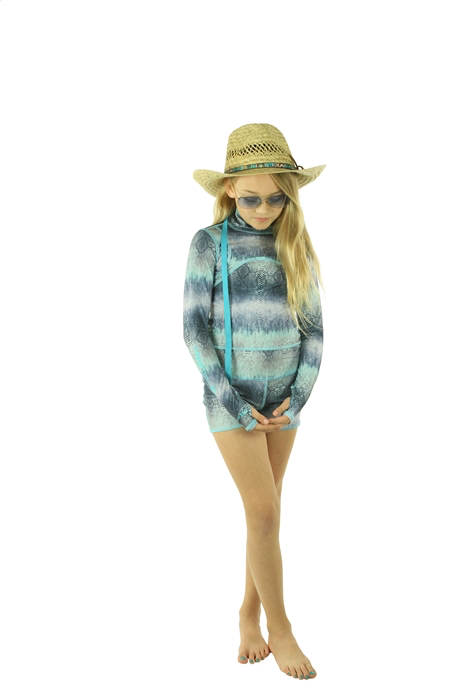 GIRL'S SHORT SWIMSUIT - BLUE COBRA