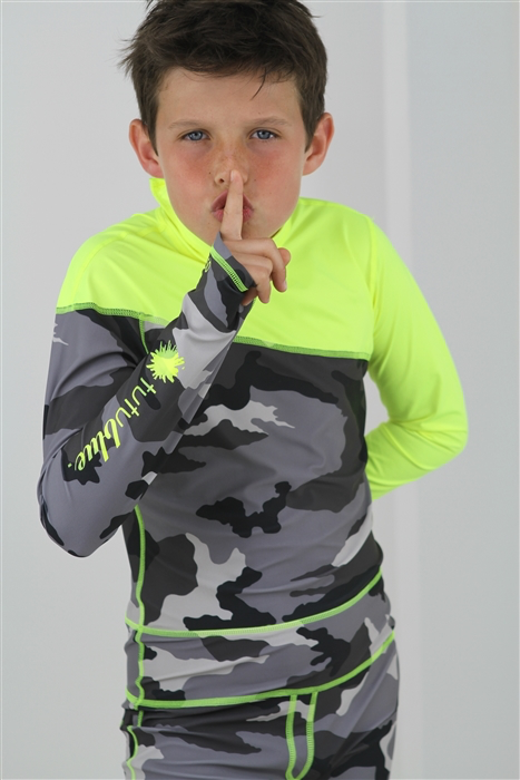 BOY'S LONG SWIMSUIT DAB - GREY CAMO WITH YELLOW CONTRAST