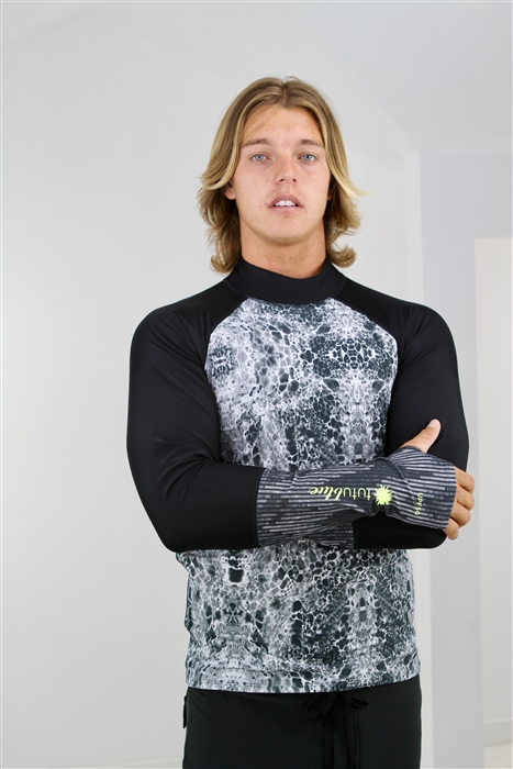 MEN'S PULLOVER RASH GUARD - BLACK SEA