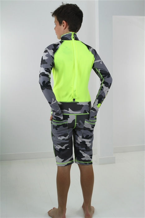 BOY'S SHORT SWIMSUIT - GREY CAMO WITH YELLOW CONTRAST