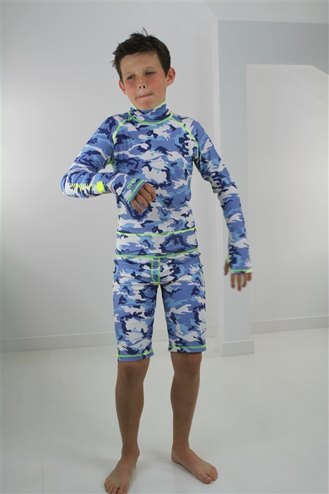 BOY'S SHORT SWIMSUIT - BLUE CAMO