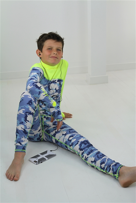 BOY'S LONG SWIMSUIT DAB - BLUE CAMO W- YELLOW *BOYS RESTOCK
