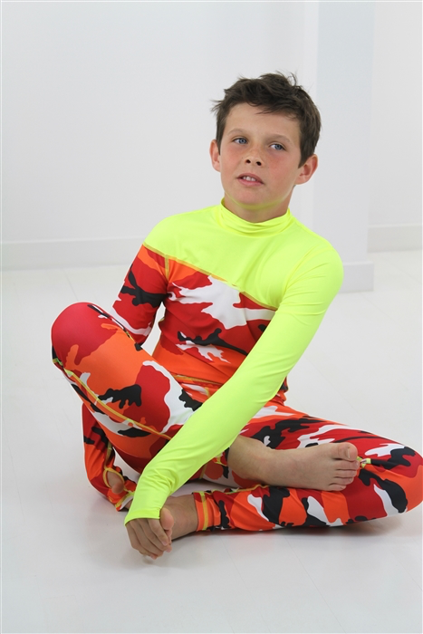 BOY'S LONG SWIMSUIT DAB - RED CAMO W- YELLOW *BOYS RESTOCK
