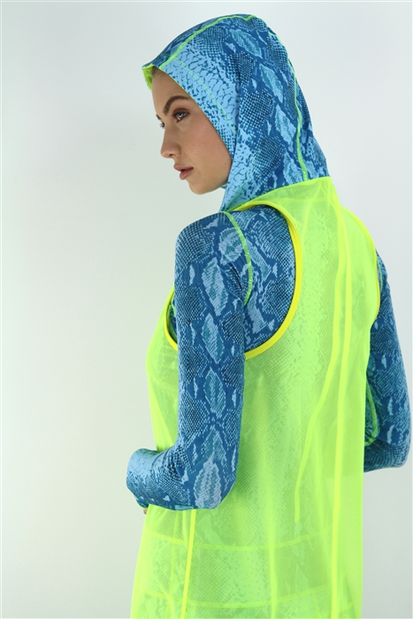 WOMEN'S HOODED TANK - YELLOW MESH WITH AQUALUNG HOOD