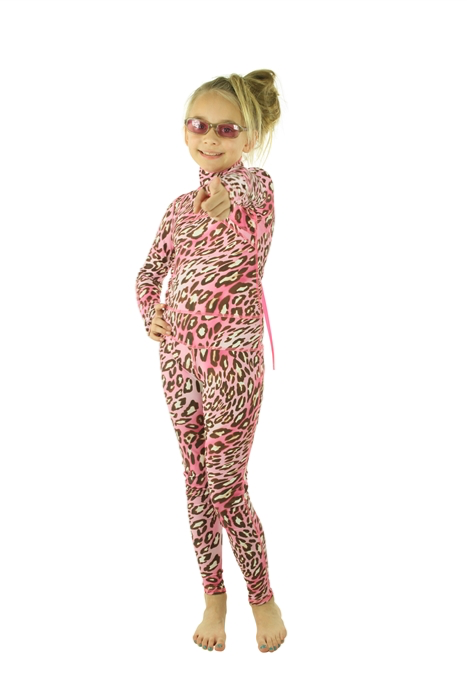 GIRL'S LONG SWIMSUIT - PINK LEOPARD