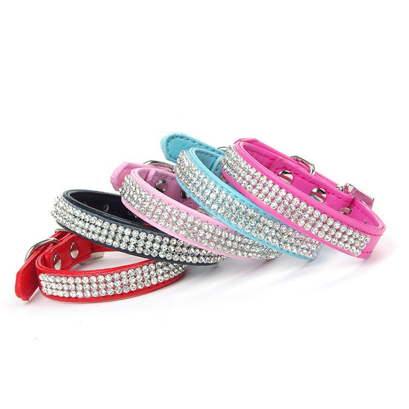 Bling Crystal Rhinestones PU Leather Pet Collars