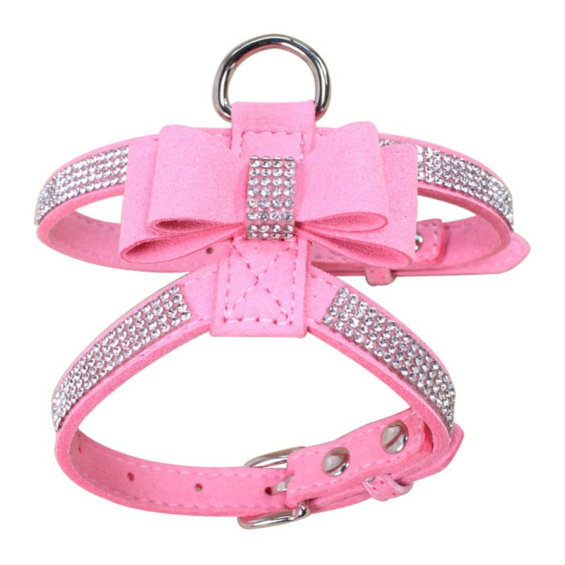 Bling Rhinestone Harness Velvet & Leather Leash Pink