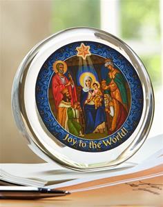 Nativity Glass Paper Weight