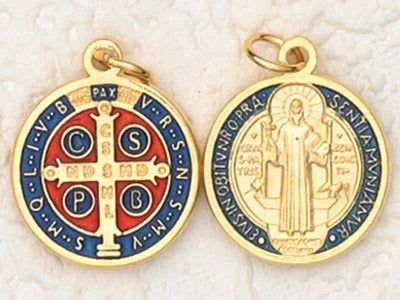 St. Benedict Dark Blue Enamel Gold Finish Medal
