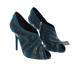 Blue Suede Snakeskin Open Toe Pumps Shoes