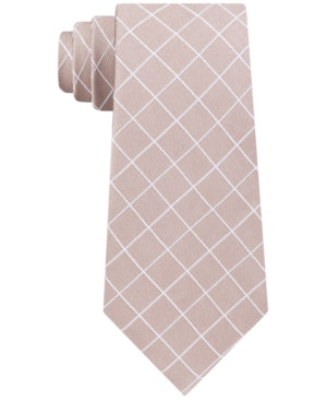 Michael Kors Taupe Simplistic Thin Line Check Tie