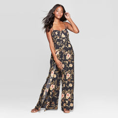Women's Floral Print Sweetheart Neck Sleeveless Bra Cup Jumpsuit