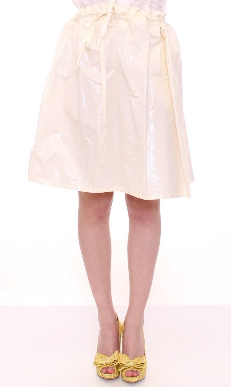 White Above-Knee Stretch Waist Strap Skirt