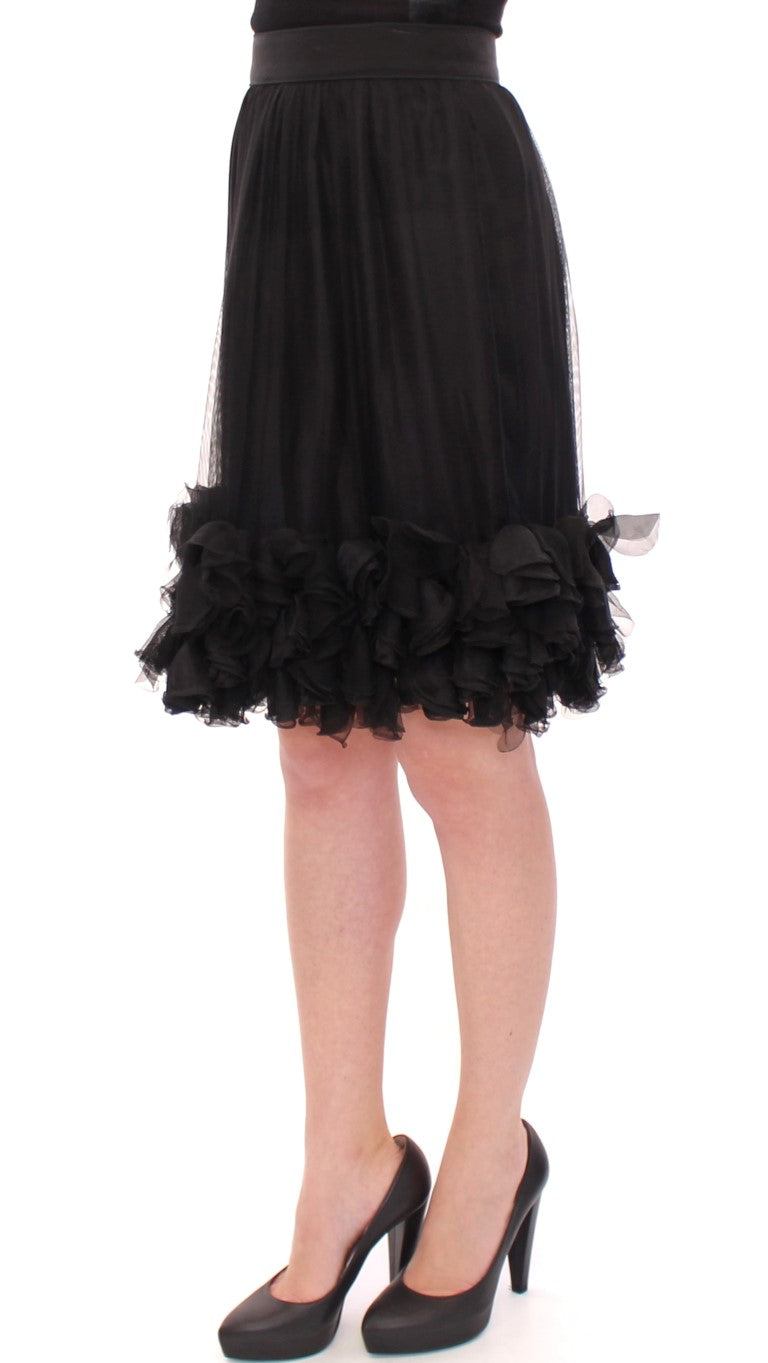 Black Silk Transparent Above Knees Skirt