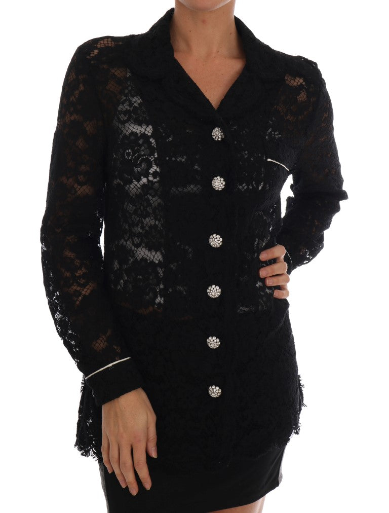 Black Crystal Button Floral Lace Shirt