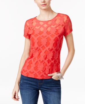 Inc International Concepts Petite Red Embellished Embroidered Top