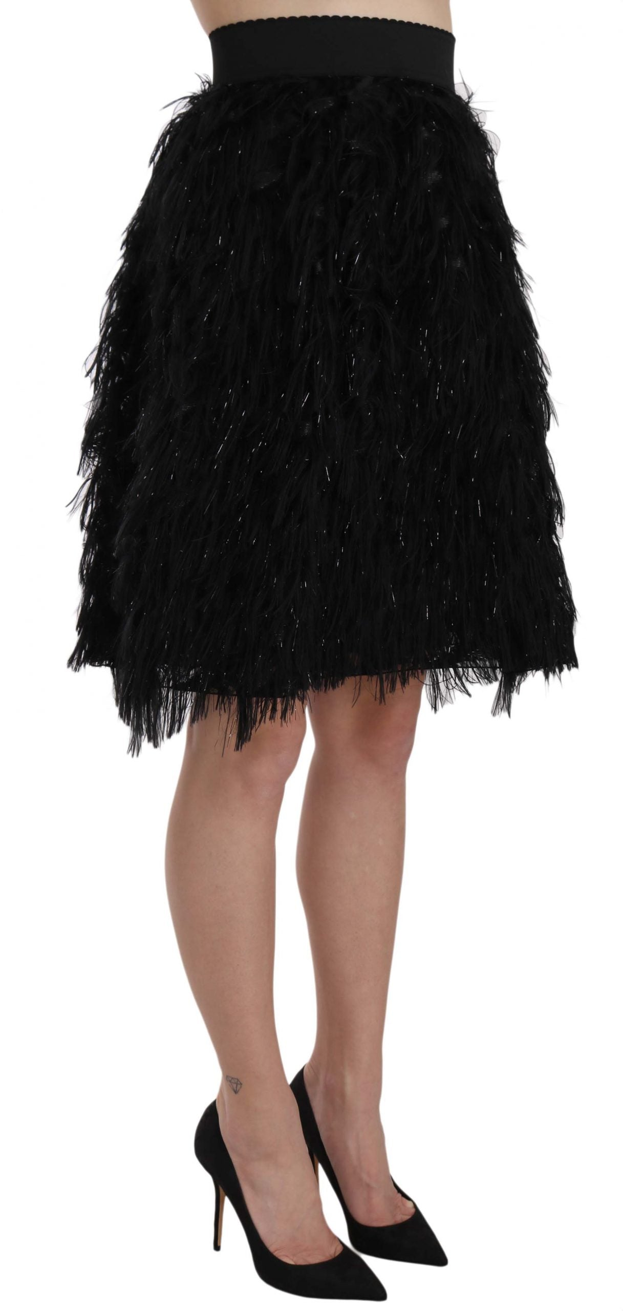 Black Fringe Metallic Mini A-line Skirt