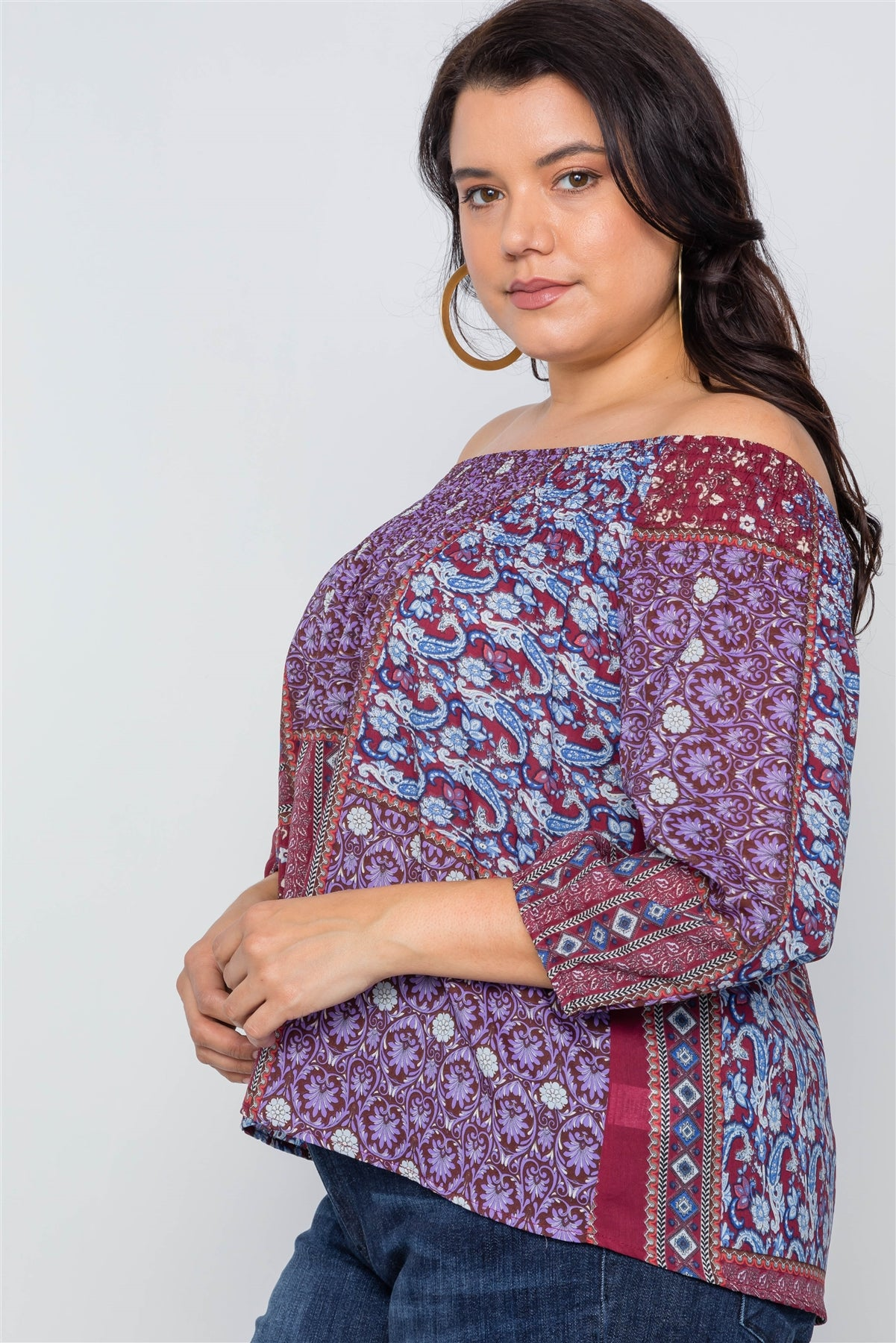 Plus Size Off-the-shoulder Multi Print Top
