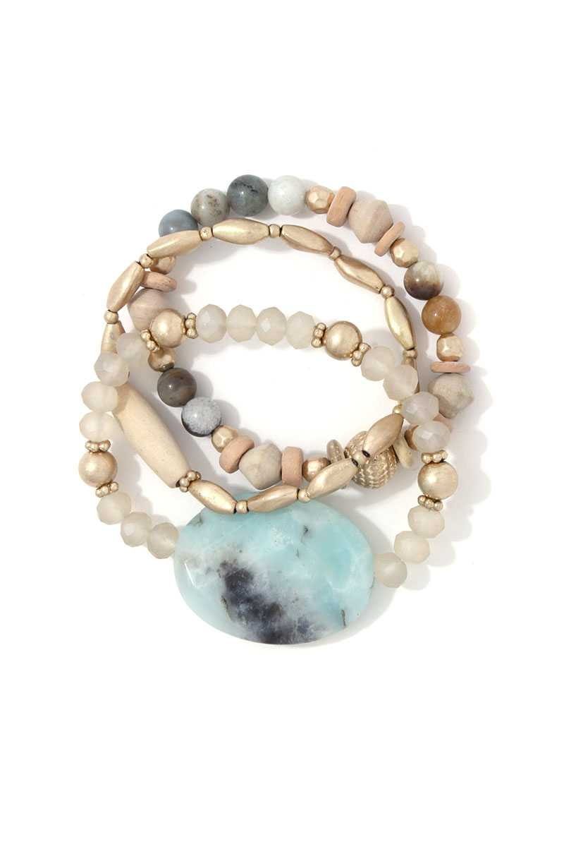 Natural Stone Beaded Stretch Bracelet Set